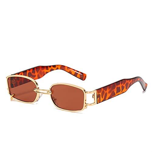 JIANCHEN Gafas de Sol Ins Forma Popular Moda pequeño rectángulo Mujeres Gafas de Sol de Lujo diseñador de la Marca Vintage Gafas Punk Hombres Gafas de Sol Tonos UV400 (Color : 2)