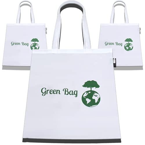 GreenBag Borsa per la spesa riciclata, 100% plastica riciclata, colore bianco, 42 cm x 38 cm, lavabile, pieghevole, stabile, robusta, robusta, grande