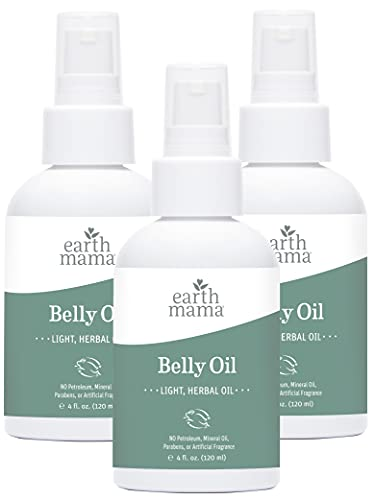 Belly Oil by Earth Mama   To Safely Moisturize and Promote Skin's Natural Elasticity During Pregnancy and to Ease the Appearance of Stretch Marks, 4-Fluid Ounce (3-Pack)