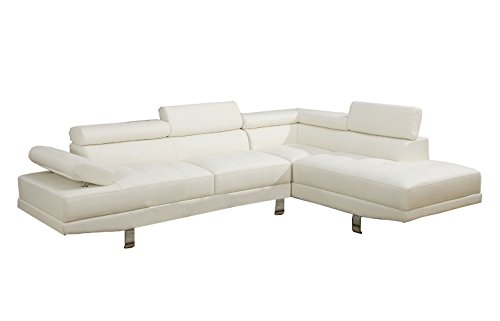 Casa Andrea Milano 2 Piece Modern Contemporary Faux Leather Sectional Sofa… (White)
