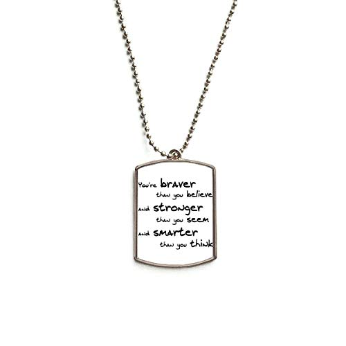 DIYthinker Braver Stronger Smarter Quote Stainless Steel Chain Dog Tag Pendant Pet Necklace