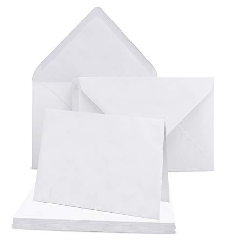 50 Dopplekarten Set mit Umschlag DIN A6 Weiß - 14,8 x 21,0 cm offen - 240 g/m² - passende Briefumschläge DIN C6 - 11,3 x 16,0 cm - 120 g/m² Weiß Nassklebung - Klappkarten mit Kuvert