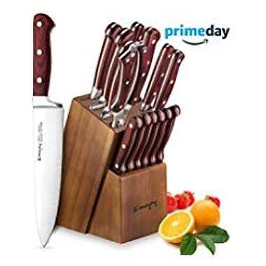 Knife Set, 15-Piece Kitchen Knife Set with Block Wooden, Self Sharpening for Chef Knife Set, German Stainless Steel, Emojoy (15 PCs Knife set)