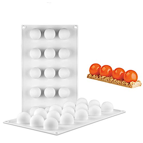 SHEANAON Antiaderente Stampo per Torta a Forma di Sfera, Palline di Ghiaccio 3D, Stampo Silicone Cioccolatini con 15 Pheres per Mousse, Tartufi, Gelatina, Bagel, Ice Cream, Stampo da Forno