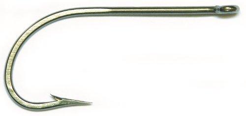 Mustad Classic 34007 O'Shaughnessy Angelhaken aus Edelstahl mit langem Schaft, Unisex-Erwachsene, O'Shaughnessy, Forged - Stainless Steel, Edelstahl, 8/0