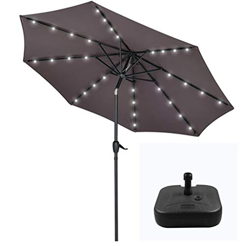 XDD Patio Umbrella Lights Cream Garden Outdoor Parasol Powered By Solar Panel With LED Light 8 Iron Umbrella Ribs Umbrella Surface PU Waterproof