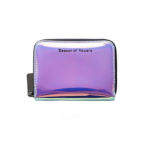 VWH Frauen Kurze Brieftasche Hologramm Reißverschluss Geldbörse Variable Farbe Kartenhalter Handtasche (blau)