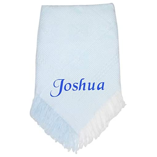 Snuggle-Baby-Personalised-Baby-Boy-Girl-Shawl-Blanket-Christening-Shower-Gift-Blue