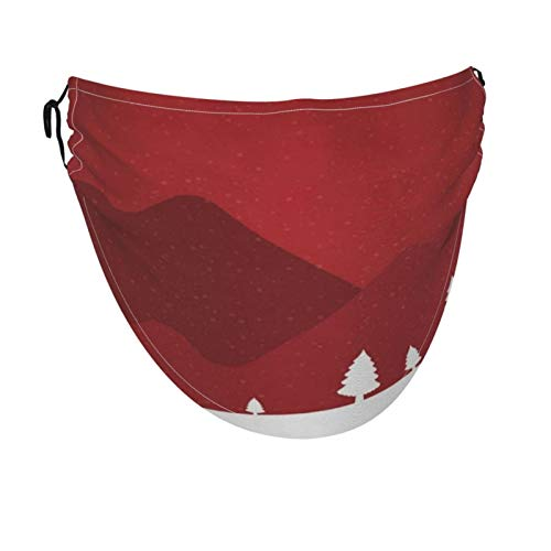 N\ A Merry Christmas Spruce Winter Landscape Big Face Mask Bandanas Cooling Breathable Fabric Face Cover XL for Women Men Adult, Adjustable, Fashion
