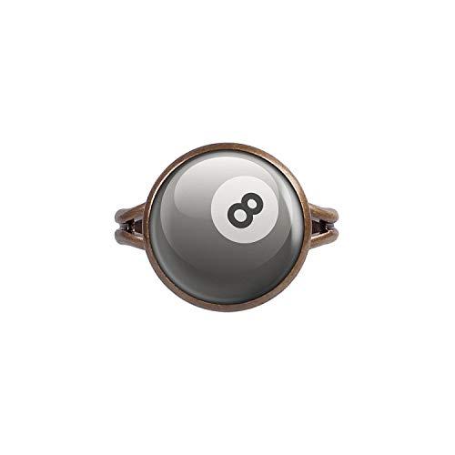 Mylery Ring mit Motiv 8-Ball Eight-Ball Pool-Billard Kugel Schwarz Weiß Bronze 14mm