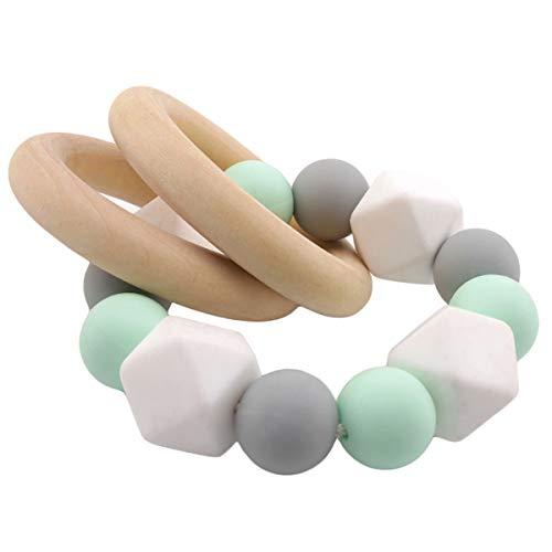 Promise Babe Silikonperlen Beißring Baby Zahnen Nursing Zubehör Armband Hölzern Ring Neutral Geschenk zum Säugling