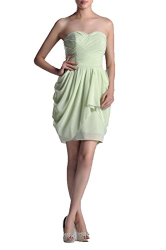 Special Occasion A-line Knee Length Strapless Cocktail Chiffon Bridesmaid Dress Short, Color Sage,2