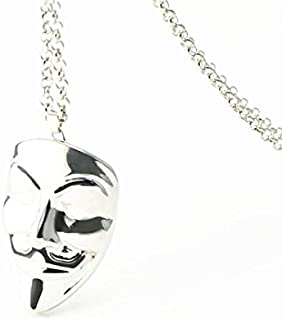 New Hip Hop Style Hacker Mask Face Pendant Cool Men Necklace Silvery