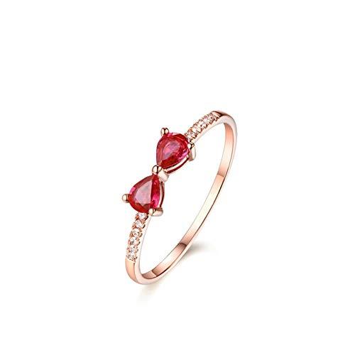 AueDsa Anillo Oro Rosa Anillos Mujer 18K Oro Rosa/Oro Doble Gota de Agua Rubí Rojo 0.4ct Anillo Talla 6,75