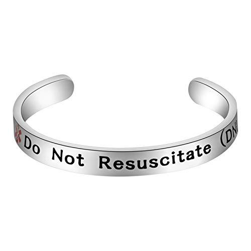 KEYCHIN Surgical Grade Steel Medical Alert ID Bracelet for Men Women Epilepsy/Blood Thinner SOS Emergency Medical Bracelets Identification Doctors Fashion Jewelry (cuff Do Not Resuscitate (DNR))