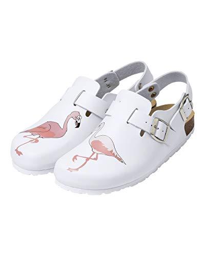 CLINIC DRESS Clog - Clogs Damen bunt weiß Tier Motiv. Schuhe für Krankenschwestern, Ärzte oder Pflegekräfte weiß/bunt, Flamingo 39