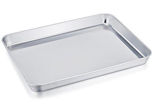 Teamfar Plat brillant pour mini four, en acier inoxydable, non toxique et sain, facile à nettoyer, passe au lave-vaisselle, 20 cm x 26 cm x 2,5 cm