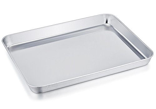 Mejor Toaster Oven Tray Pan, Zacfton Baking Sheet Stainless Steel Cookie Sheet Rectangle Size 10 x 8 x 1 inch, Non Toxic & Healthy,Superior Mirror Finish & Easy Clean, Dishwasher Safe (10inch) crítica 2020