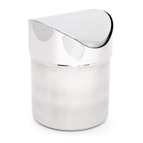 Relaxdays Tischmülleimer Edelstahl mit Schwingdeckel HxD 15,5 x 12 cm Tischabfallbehälter aus glänzendem Metall für kleine Abfälle 1,2 L Mini Mülleimer als kleiner Abfalleimer für Frühstück, silber