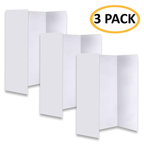 [New & Improved] Premium White Trifold Presentation Board - Trifold Poster Board - Heavy-Duty Corrugated Cardboard Poster for Art Projects & Science Fair, Set of 3
