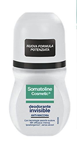 Somatoline Cosmetic - Desodorante invisible roll-on antimanchas de larga duración, 50 ml