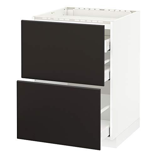 METOD/Maxim bas hytt f häll/2 fronter/3 lådor 60 x 61,6 x 88 cm vit/Kungsbacka antracit