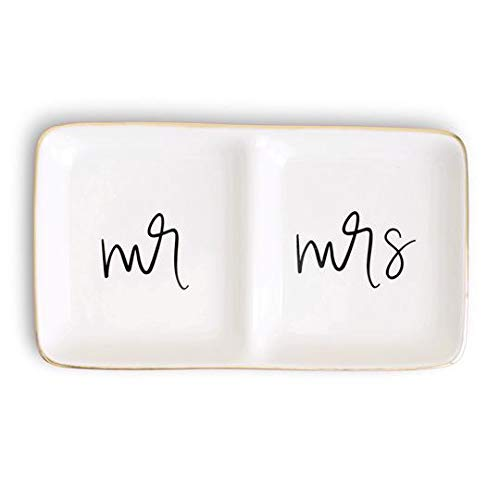 Sweet Water Decor Mr and Mrs Jewelry Dish Gold Ceramic Ring Trinket Tray Wedding Gift for Bride Wifey Desk Storage Accessories Miss Office Decor Hand Lettered Holder Best Engagement Gifts Friend
