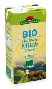 Schwarzwälder Haltbare Bio H-Milch fettarm 1,5%, 1 l
