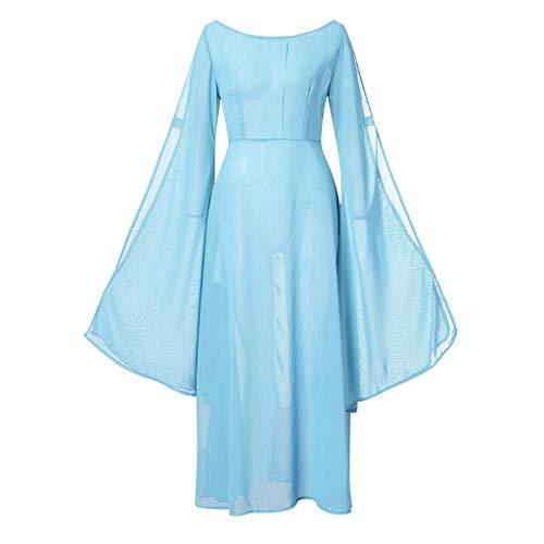 Xmiral Damen Kleid Retro Hohe Taille Knöchellang Cosplay Kostüm Langarm U-Boot-Ausschnitt Tanzkostüm Große Größe Schlaghülse Fee Verein Kleider(Blau,S)