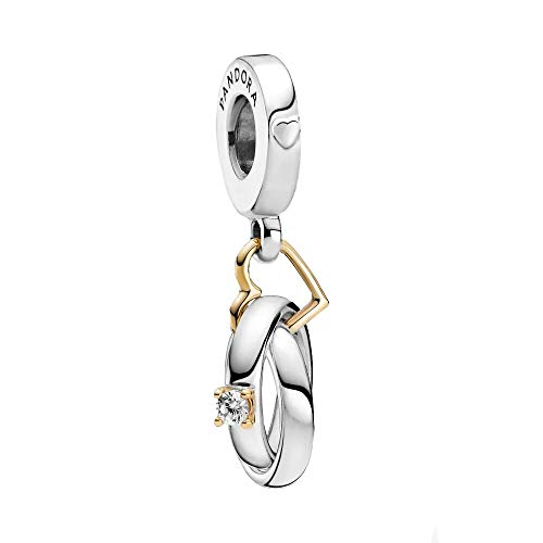 Pandora Zweifarbige Hochzeitsringe Charm-Anhänger mit Sterling-Silber und 14 Karat Gold und Cubic Zirkonia Steinen aus der Pandora Moments Collection