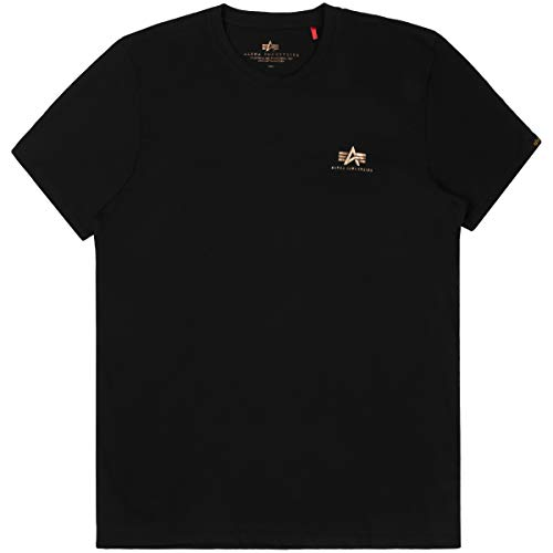 Alpha Industries T-Shirt Basic T Small Logo schwarz weiß blau grün rot Olive rot gelb braun grau (M, Black/Gold)