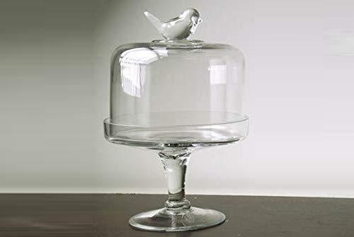 Soporte para postres, centro de mesa de cristal transparente, 16 x 26 cm, con tapa, CTD-565397