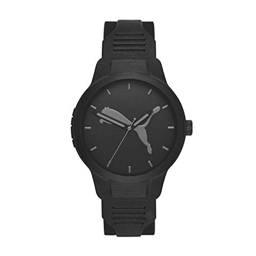 PUMA Men's Reset Three Hand Black Polyurethane Watch P5004