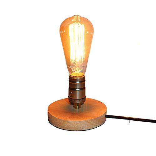 ACEACE Lámpara de Mesa de Aluminio de Madera Bombilla de Escritorio Retro Loft (Body Color : Bronze with ST64Bulb, Wattage : EU Plug)