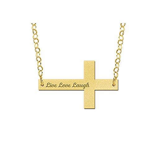Namesforever naamketting met gravure - kruis-hanger met uw naam incl. ketting van goud