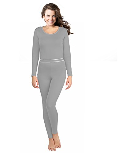 Rocky Women's 2pc Thermal Underwear, Top & Bottom Fleece Lined Long Johns (Small, Grey)