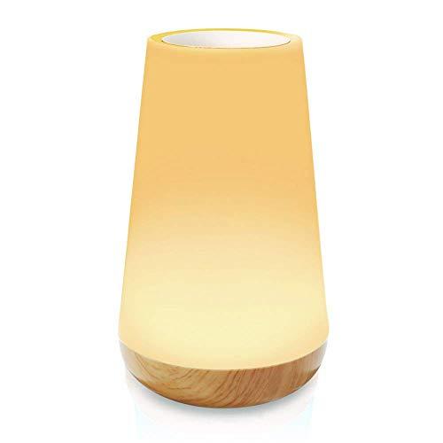 HFY Luz de Nocturna LED, Lámpara de Mesa LED, Lámparas de Mesita de Noche con control táctil, Control Tactil, Regulable, USB Recargable, para Habitación, Cámping (Grano de madera-2)