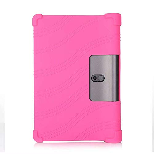 Shockproof Silicone Case for Lenovo Yoga Tab 5 YT-X705 10.1 Inch Tablet Back Cover for Lenovo Yoga Smart Tab5 Soft Shell-Rose Red