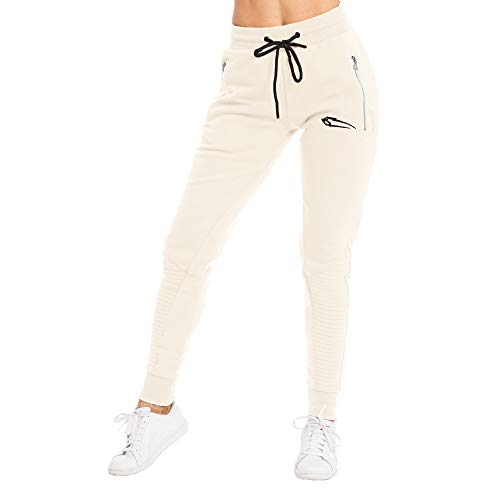 SMILODOX Damen Jogginghose 'Ripplez' | Trainingshose für Sport Fitness Gym Training | Sportleggings - Jogger Pants - Sweatpants Hosen - Freizeithose Lang, Farbe:Beige, Größe:XS