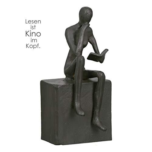 Casablanca - Figur, Dekofigur, Skulptur - Readable - Lesende Frau - Eisen - brüniert - 16 x 6 x 6,5 cm