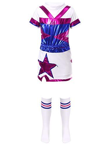 Alvivi Disfraces de Animadora Nias Conjuntos Deportivos de Danza 3PCS Tops Brillante+Falda+Medias para Fiesta Actuacin Blanco 7-8 aos