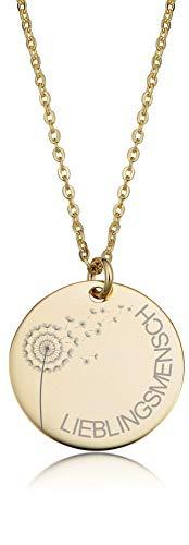 URBANHELDEN - Damen-Kette 925 Silver platiniert - Lieblingsmensch Pusteblume Gold