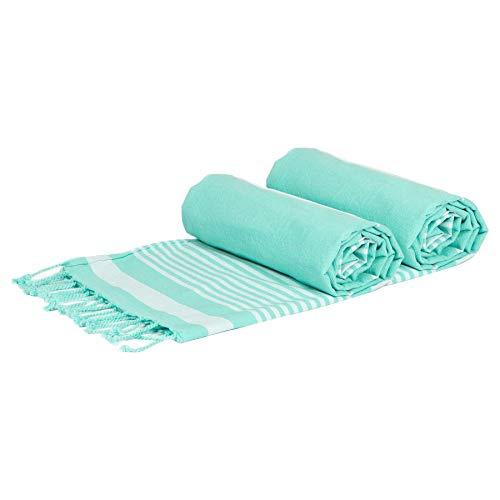 Nicola Spring Conjunto de 5 piezas de algodón Toallas de lujo turco - Peso ligero baño de la playa Peshtemal Futa Hoja Throw - aguamarina