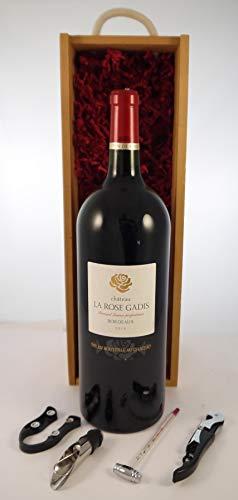 Chateau La Rose Gadis 2016 Bordeaux MAGNUM en una caja de regalo con cuatro accesorios de vino, 1 x 1500ml