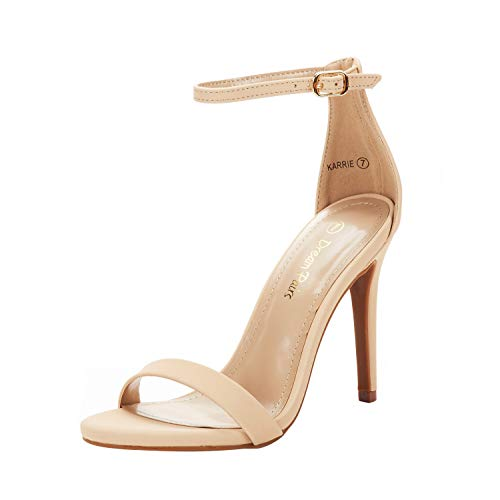 DREAM PAIRS Women's Karrie Nude Nubuck High Stiletto Pump Heeled Sandals Size 6 B(M) US