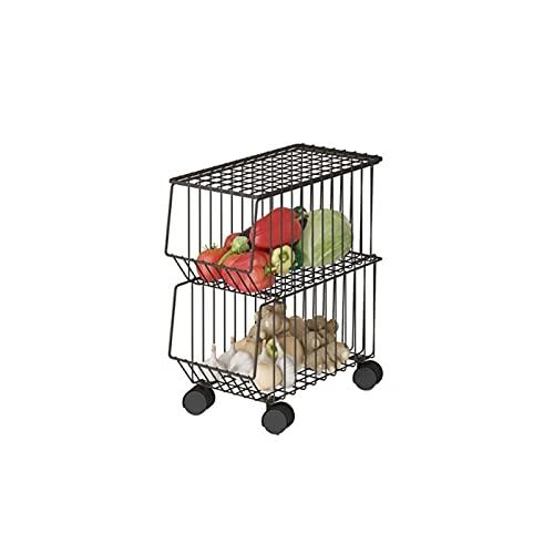 BKWJ Cesta de almacenamiento, cesta de frutas de 2/3 niveles para almacenar y organizar verduras, estanterías y almacenamiento, estantería de secado de cocina (Size : 2 layer)