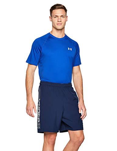 Under Armour Woven Graphic Wordmark Shorts Pantalones de hombre, pantalón corto ultraligero y transpirable, cómodo y ancho pantalón de deporte, Academy/Graphite (408), SM