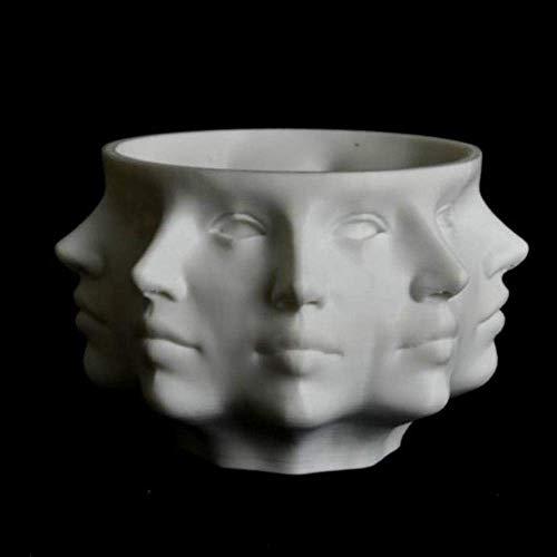 Statua Ornamento Scultura Multi-Face Succulente Planter Vaso Piccolo Viso Planter Testa di Fronte Vaso della Decorazione della casa Succulente Cactus Indoor Vaso da Fiori, Bianco (Color : White)