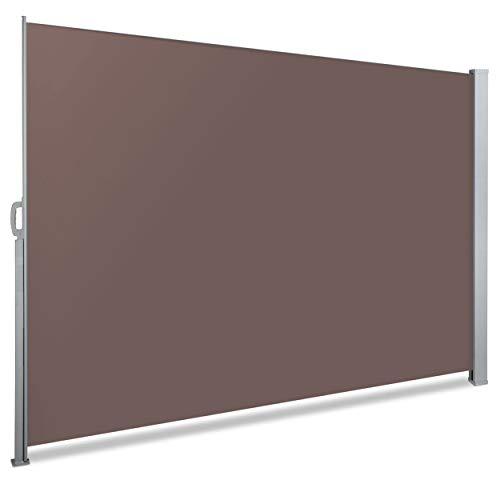VOUNOT Seitenmarkise Ausziehbar für Balkon, Garten und Terrasse, Sichtschutz, Windschutz, Wasserdicht, Sonnenschutz, 180 x 300 cm, Braun