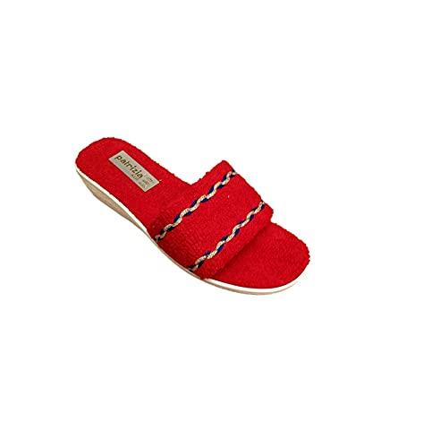 Sandalo Donna Ciabatta Mare Piscina Spa in Spugna 100% Art. 174 (Rosso, Numeric_38)